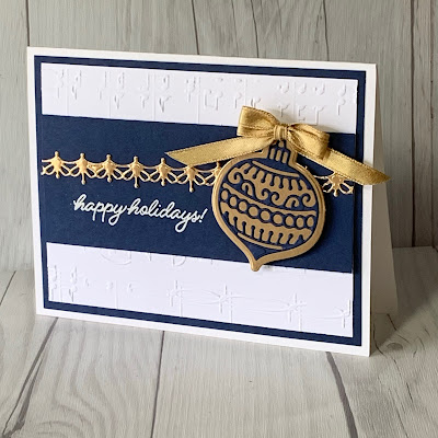 Christmas Card with a musical embossed background and a die cut ornament using Frosted Gingerbread stamp set from Stampin' Up
