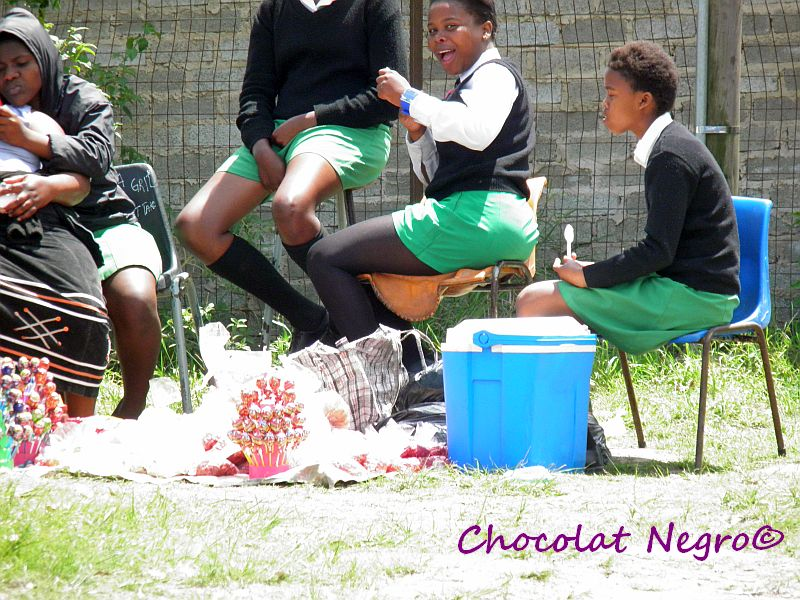 The girls of Inkwenkwezi High School in NU 6 are enjoying their candy break