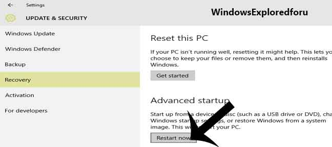 Steps to Boot to Advanced Startup in Windows 10