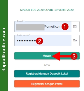 Masuk aplikasi EDS2020 Covid-19 Versi 2020 dengan akun Operator Dapodik Sekolah/Peran Kepala Sekolah