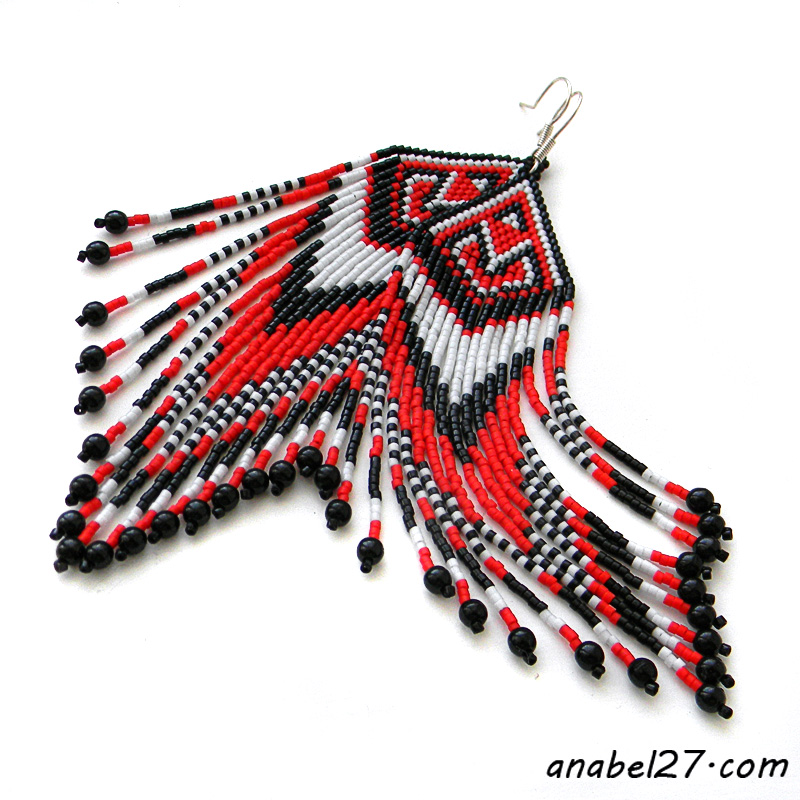 Red black white seed bead earrings beaded jewelry beadwork long earrings