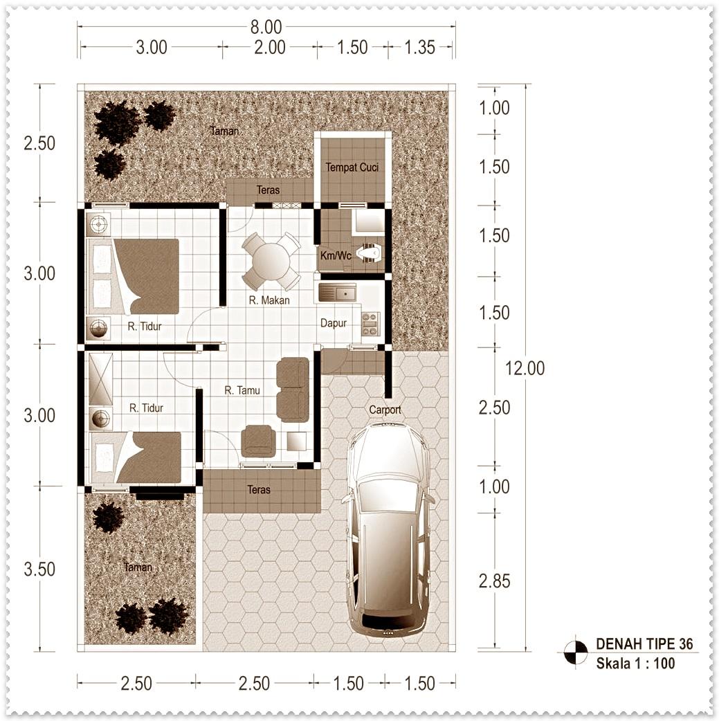 denah arsitektur rumah minimalis type 36