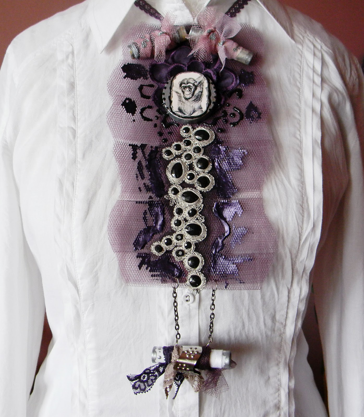 Baroque/Upcycle Jabot/Collar-monkey print deco