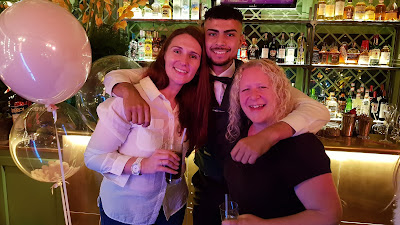 Myself and sim with barman smiling at Pandora event The Ivy Manchester November 2019