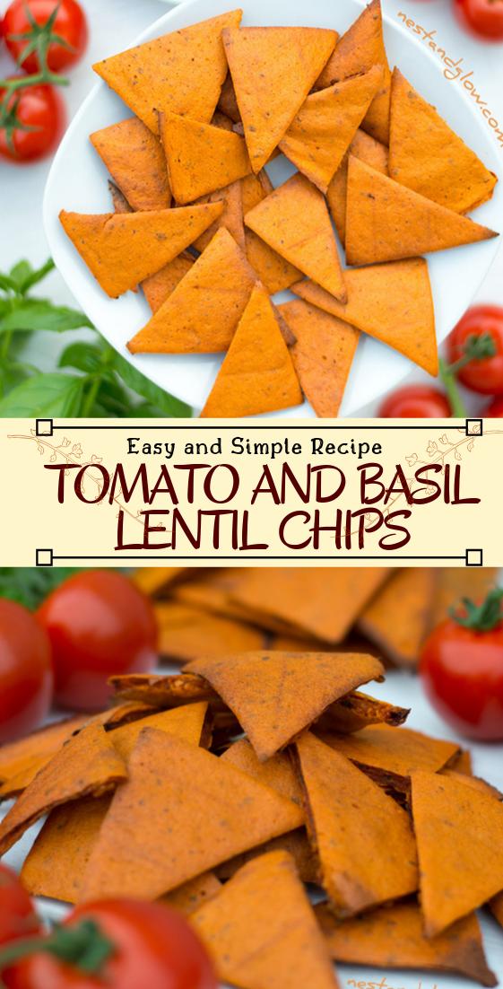 TOMATO AND BASIL LENTIL CHIPS #vegan #vegetarian #soup #breakfast #lunch