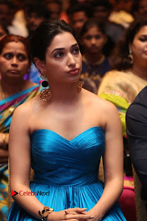 Actress Tamannaah Pictures in Blue Long Dress at Abhinetri Audio Launch  0100.jpg