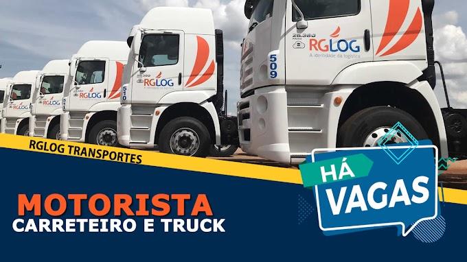 RGLOG Transportes abre vagas para Motorista Carreteiro e Truck
