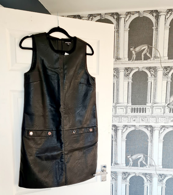 Warehouse black leather pinafore dress