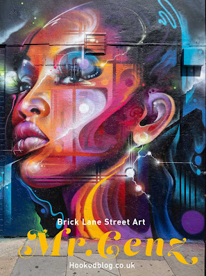 London based Graffiti Artist Mr. Cenz returns to Shoreditch to paint a futuristic Brick Lane street art portrait mural on Bacon Street. #streetart #murals #Hookedblog