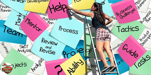 "Featured in the article: ""The 4 Best Ways To Stay Motivated During A Job Search"". Girl looking for ways to stay motivated while searching for a job, using postits tips"