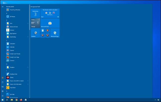 قائمة ابدأ ضخمة لنظام التشغيل Windows 10