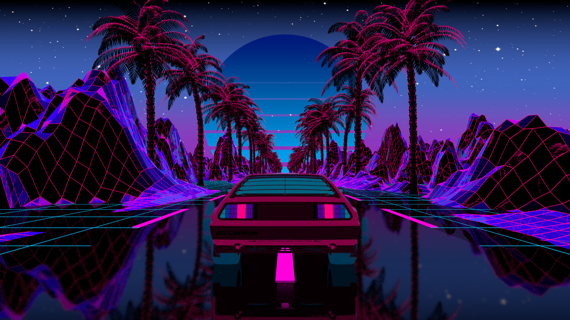 outrun retro wallpaper hd