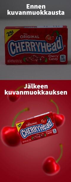 Cherry karkkipaketti. Punainen tausta, kirsikoita.