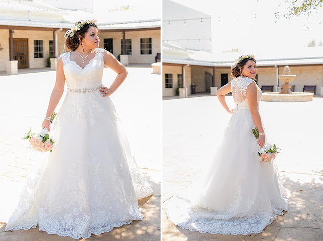 Briscoe Manor Houston Wedding Venue, Lace Scalloped Wedding Dress