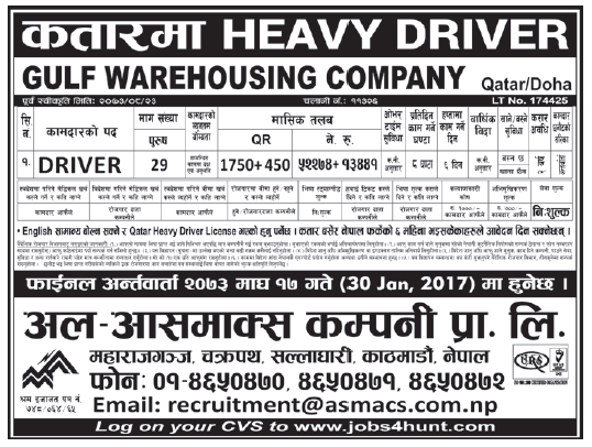 Jobs in Qatar for Nepali, Salary Rs 52,274