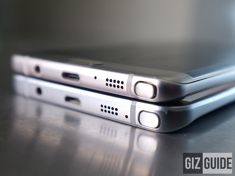 The Note 7 (Above) is noticeably thinner and smaller than the Note 5 (Below)