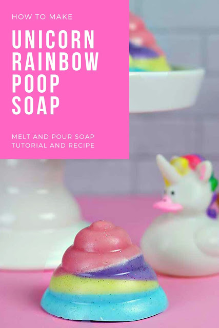 How to make a unicorn soap with melt and pour soap. Get ideas inspiration for making unicorn rainbow poop soap with this easy tutorial. This easy ideas design uses a mold for a different soap project for this easy soap making recipe. Learn new techniques with recipes easy to make at home.  Get ideas design for homemade DIY soap. #soap #meltandpour #unicorn
