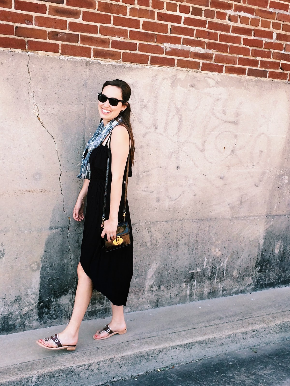 trendy in texas, blog, jack rogers, black maxi dress, strapless black maxi dress, tasseled necklace scarf, tasseled necklace scarf anthropologie, eyelet vines infinity scarf, anthropologie, alice kerley