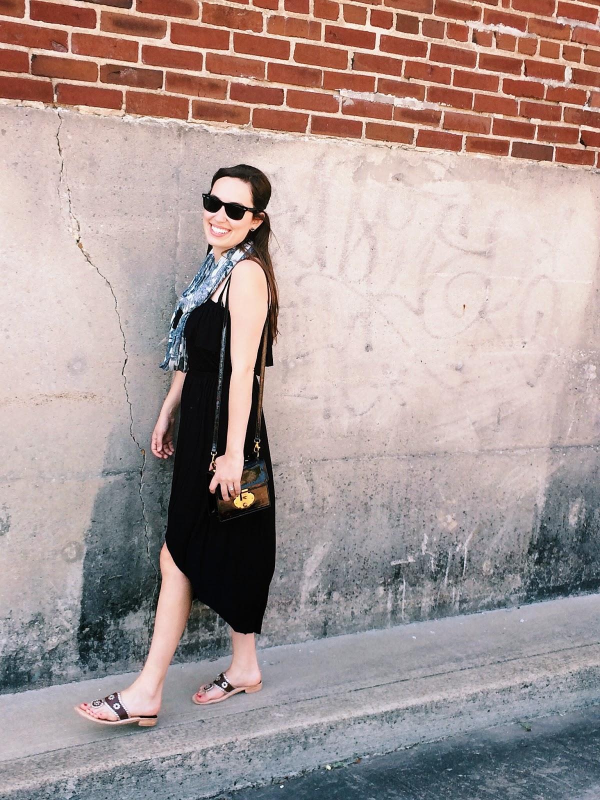 trendy in texas, blog, jack rogers, black maxi dress, strapless black maxi dress, tasseled necklace scarf, tasseled necklace scarf anthropologie, eyelet vines infinity scarf, anthropologie, alice kerley