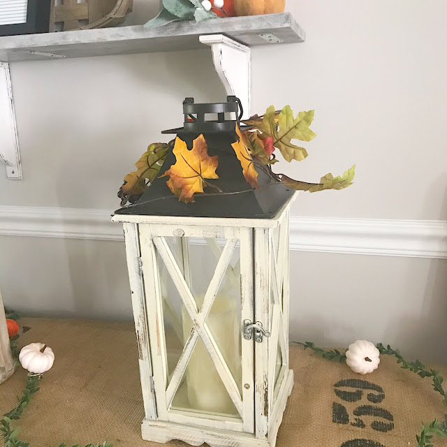 white wood glass hurricane lantern fall leaves LED candle