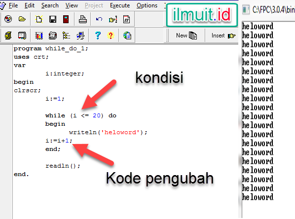 Hasil Program.1 WHILE DO Heloo Word Pascal :