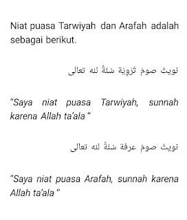 Bacaan niat puasa Arafah dan tarwiyah bahasa Arab dan artinya dalam bahasa Indonesia