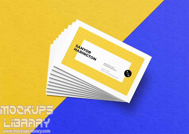 realistic stacked business card mockup
