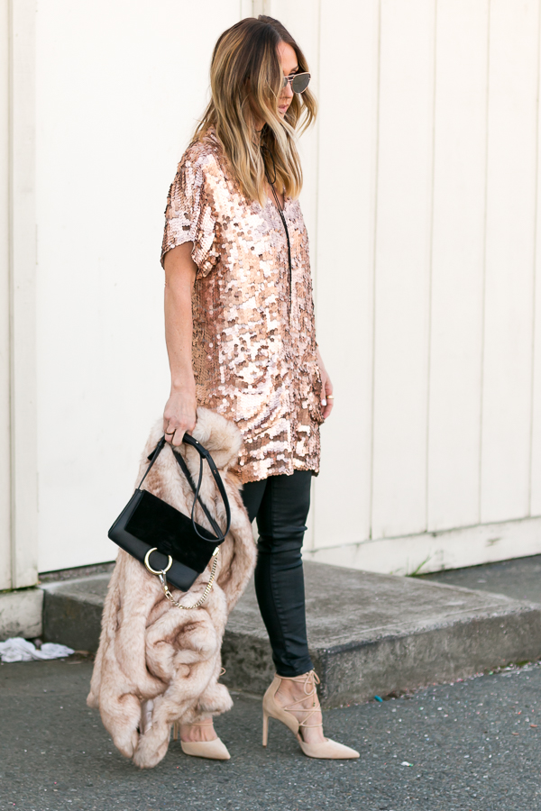 rose gold sequin dress parlor girl free people