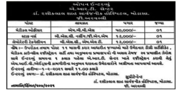 General Hospital Modasa Recruitment for Various Posts 2021