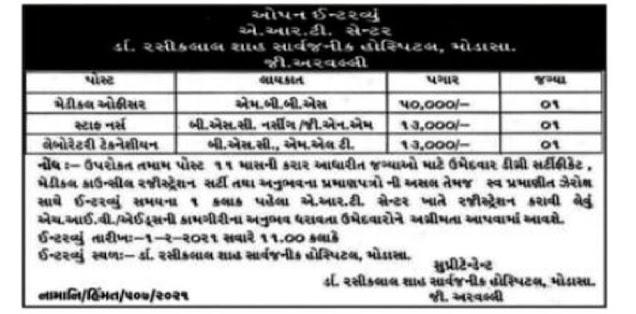 General Hospital Modasa Recruitment for Various Posts 2021