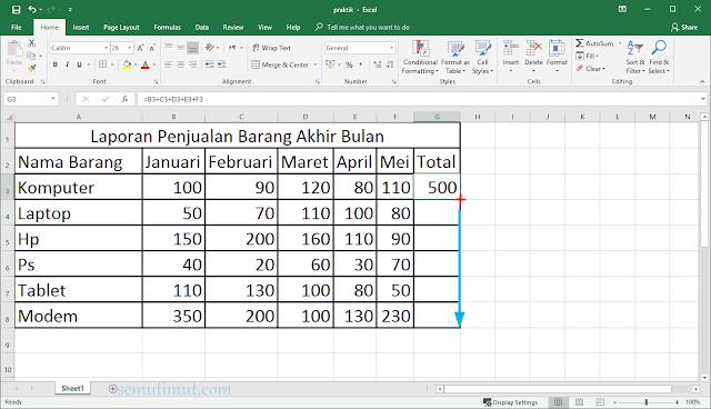 cara menambah tabel di excel