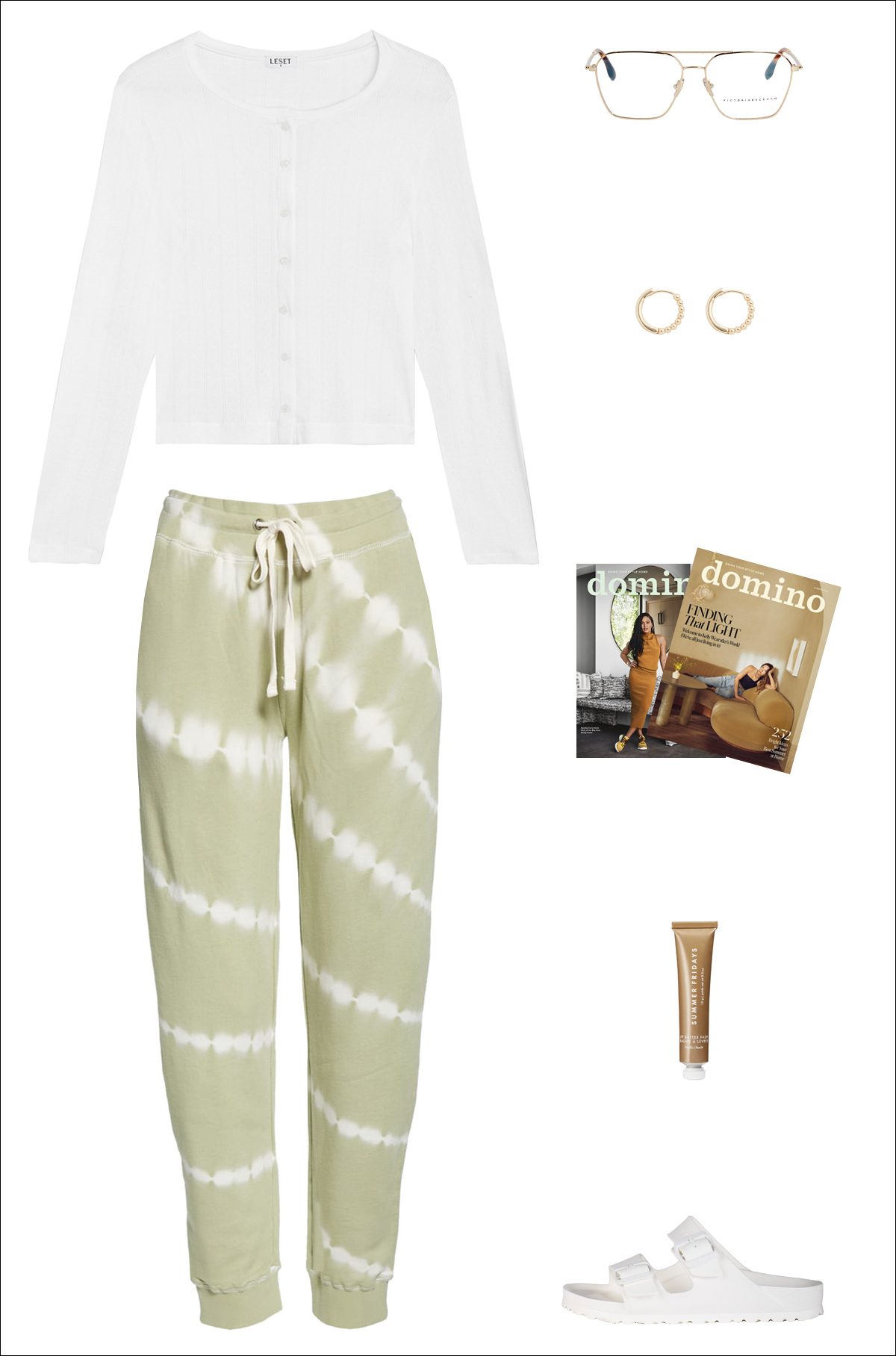 Minimalist Casual Loungewear Outfit Idea — White Cardigan, Aviator Optical Glasses, Studded Mini Hoop Earrings, Tie-Dye Sweatpant Joggers, and White Birkenstock Sandals