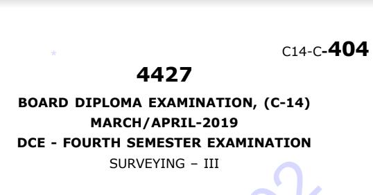 Diploma Surveying-3 Previous Question Paper c14 March/April 2019