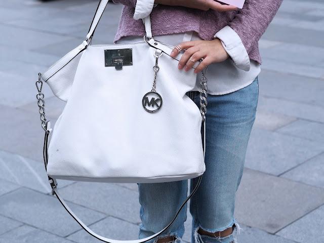 white Michael kors handbag outfit