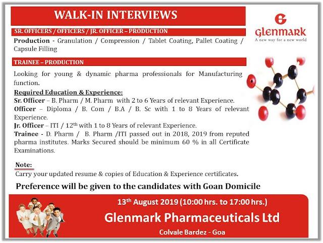 Glenmark Walk in for Trainee production,& Sr officer, Officer, Junior officer for Production goa location.