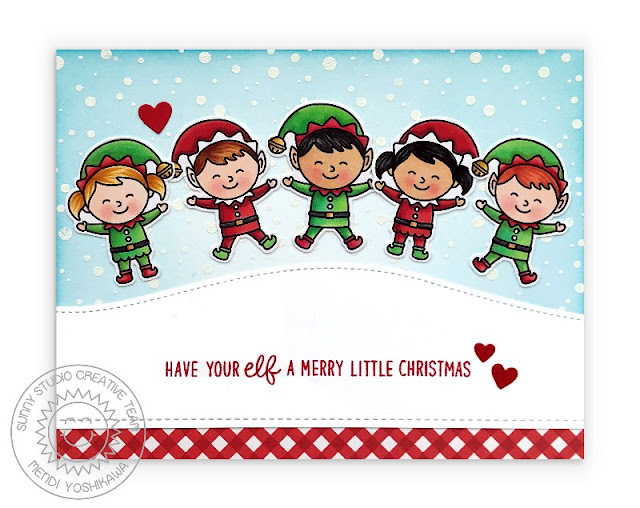 Sunny Studio Blog: Have Your Elf A Merry Little Christmas Punny Elves Handmade Holiday Card (using North Pole Stamps, Slimline Nature Border Dies & Holiday Cheer 6x6 Paper Pack)