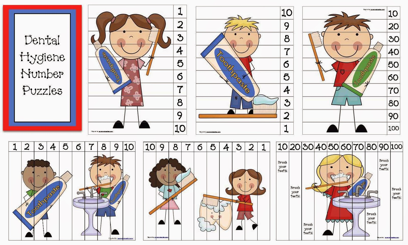 Classroom Freebies Dental Hygiene Number Puzzles
