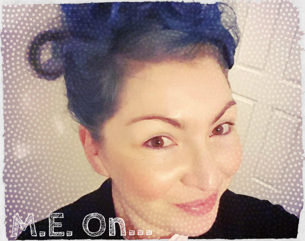 face of MYALGIC ENCEPHALOMYELITIS sufferer with blue hair, smiling