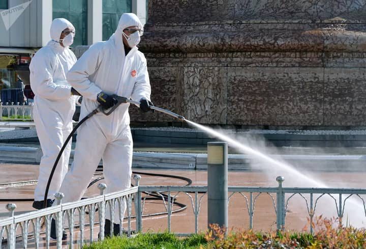 Turkish Health Ministry officials are disinfecting the streets of Istanbul because of the Corona virus outbreak.