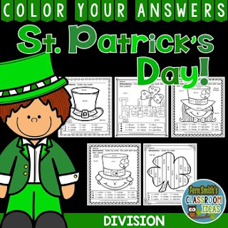 MORE St. Patrick's Day Color By Number Division