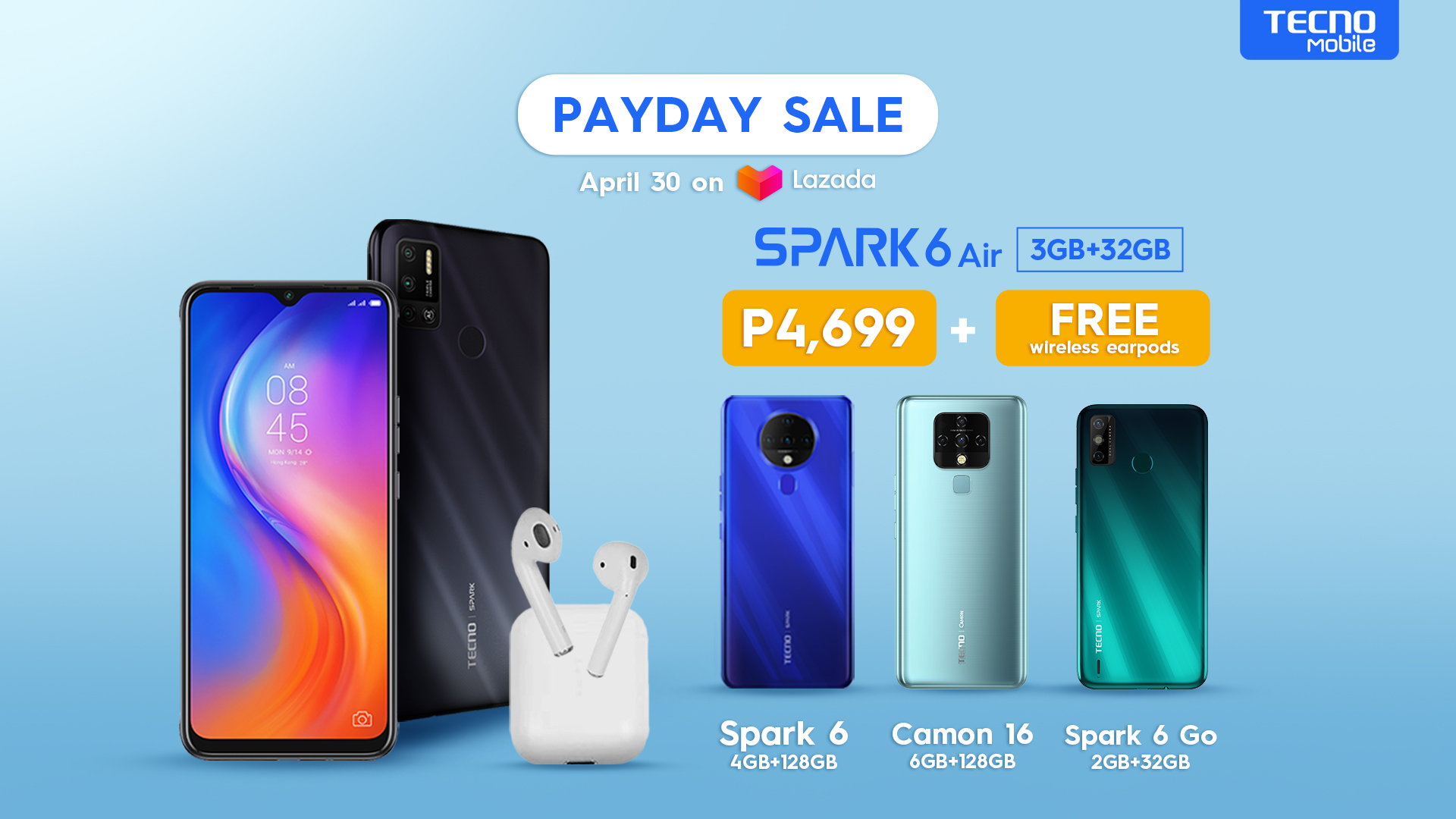 TECNO Mobile Spark 6 Air, TECNO Mobile PayDay Sale