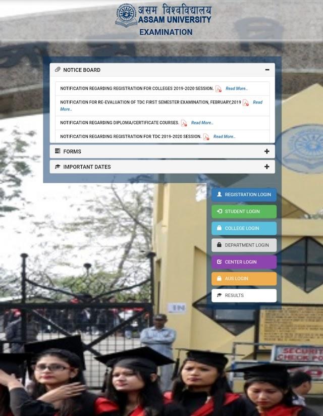 Assam University  TDC/ B.A., B.Sc, B.Com result for 2019 may June even Semester Examination