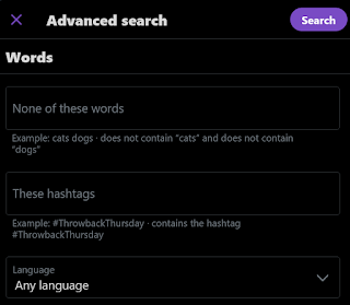Twitter Advanced Search dialog for Words 2