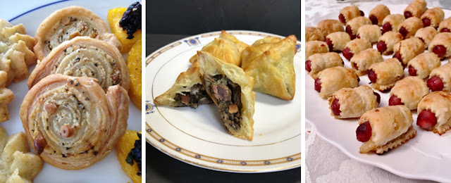Palmiers with leftover dough, Mock Wellington Bites, Smokies in Puff Pastry