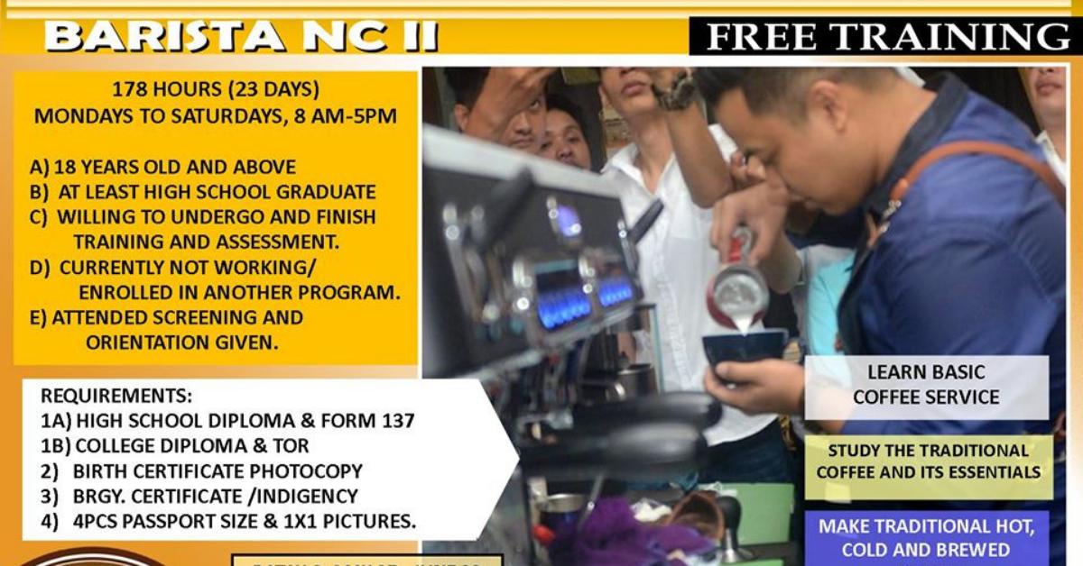 Barista NC II, 23 days Only (FREE TRAINING)
