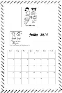 Calendário julho 2014
