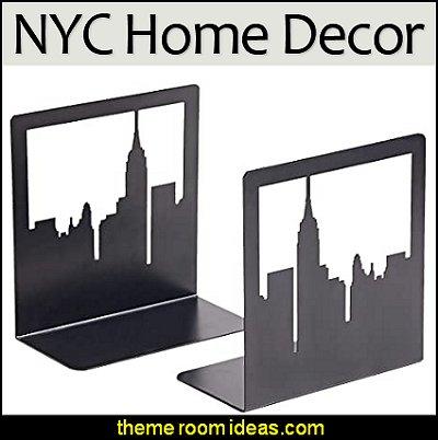 New York City, NYC Skyline, Book Ends  city themed decor - urban bedroom ideas