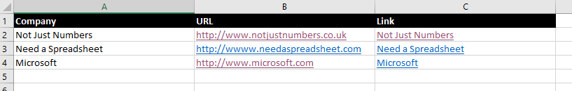 Not Just Numbers: Excel Tip: Use the HYPERLINK function to