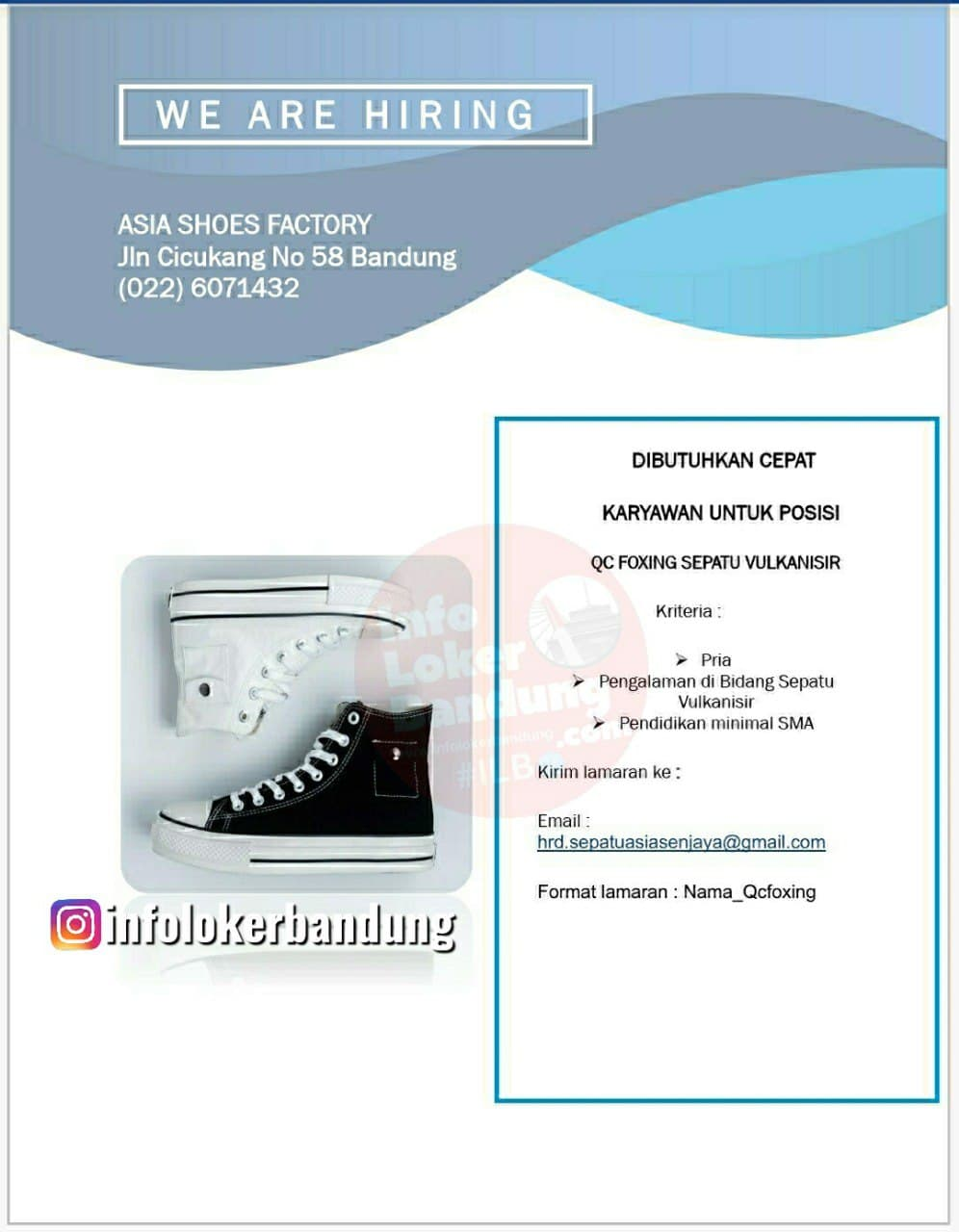 Lowongan Kerja PT. Asia Shoes Factory Bandung November 2020