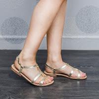 Sandale dama Piele Ronde aurii cu talpa joasa (modlet)